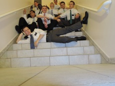 missionaries on the stairs
